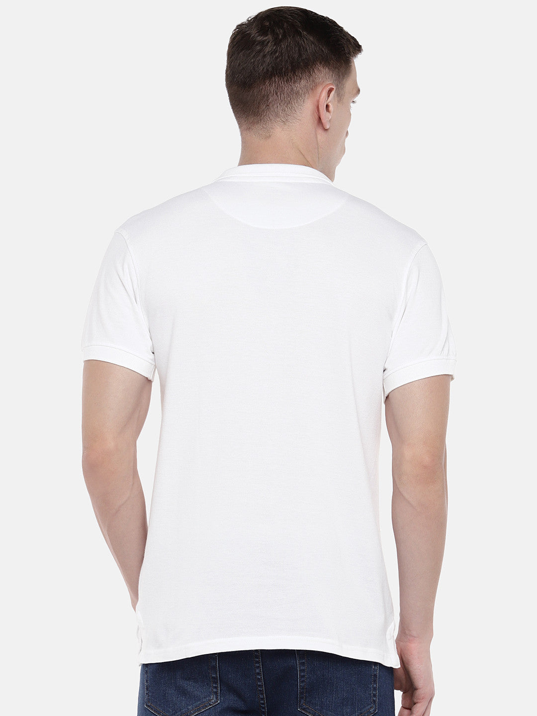 White Solid Polo Collar T-shirt-3