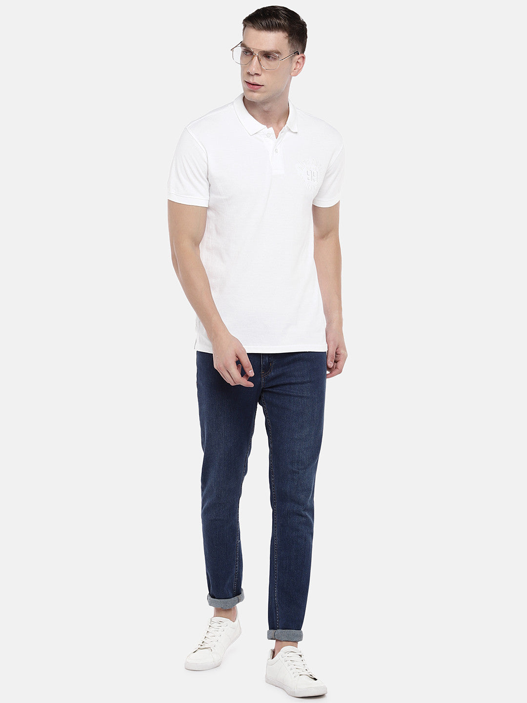 White Solid Polo Collar T-shirt-4