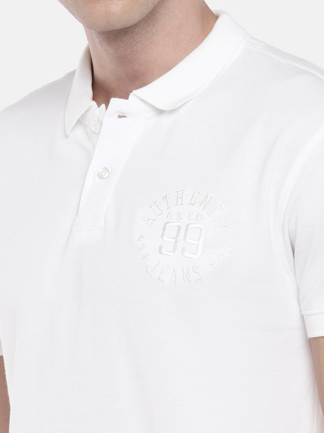 White Solid Polo Collar T-shirt-5