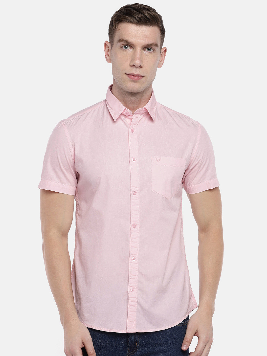Pink Regular Fit Solid Casual Shirt-1
