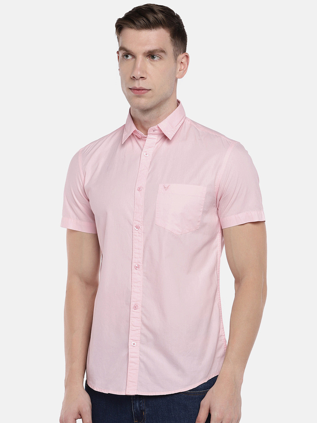 Pink Regular Fit Solid Casual Shirt-2