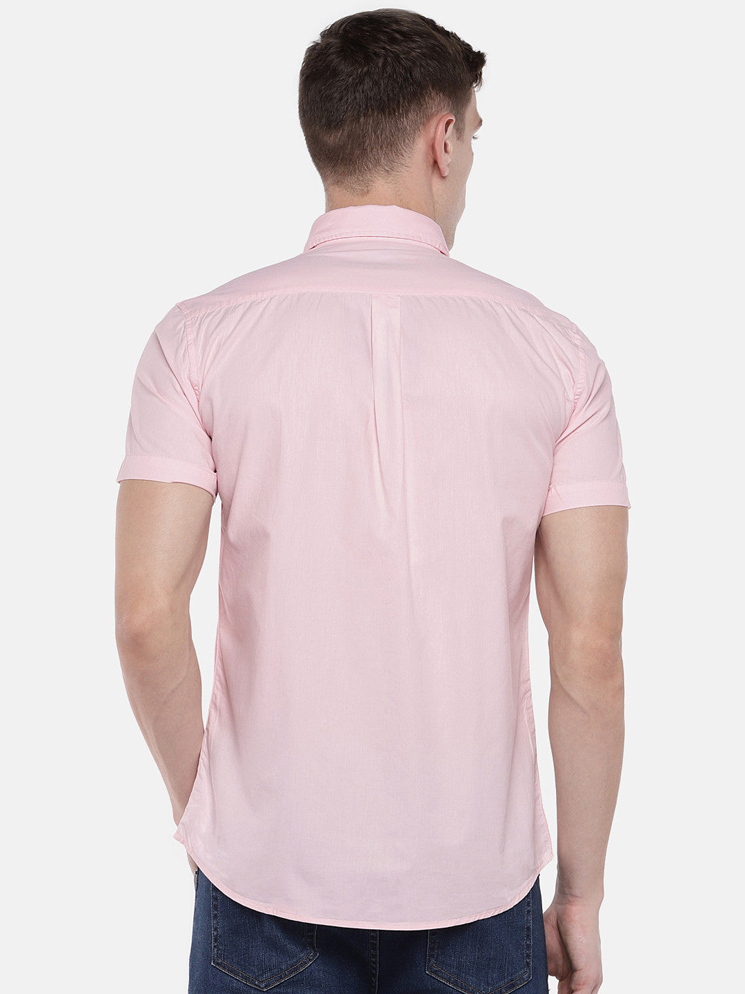 Pink Regular Fit Solid Casual Shirt-3