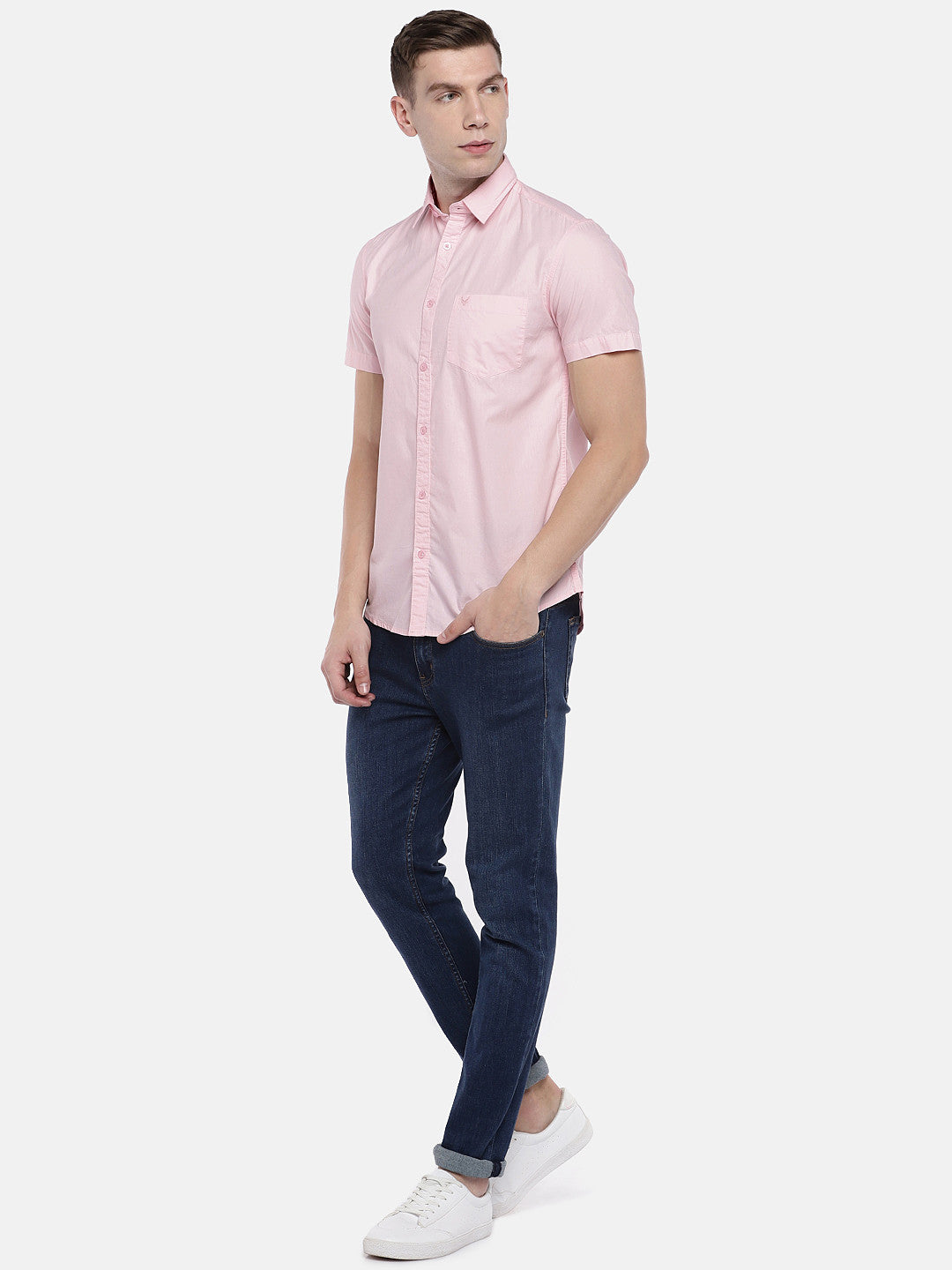 Pink Regular Fit Solid Casual Shirt-4