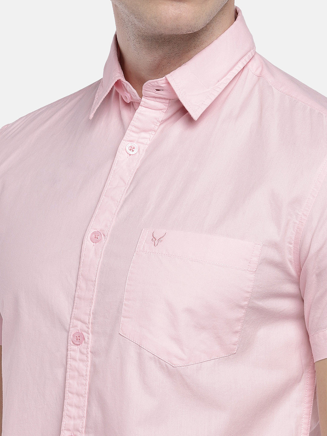 Pink Regular Fit Solid Casual Shirt-5