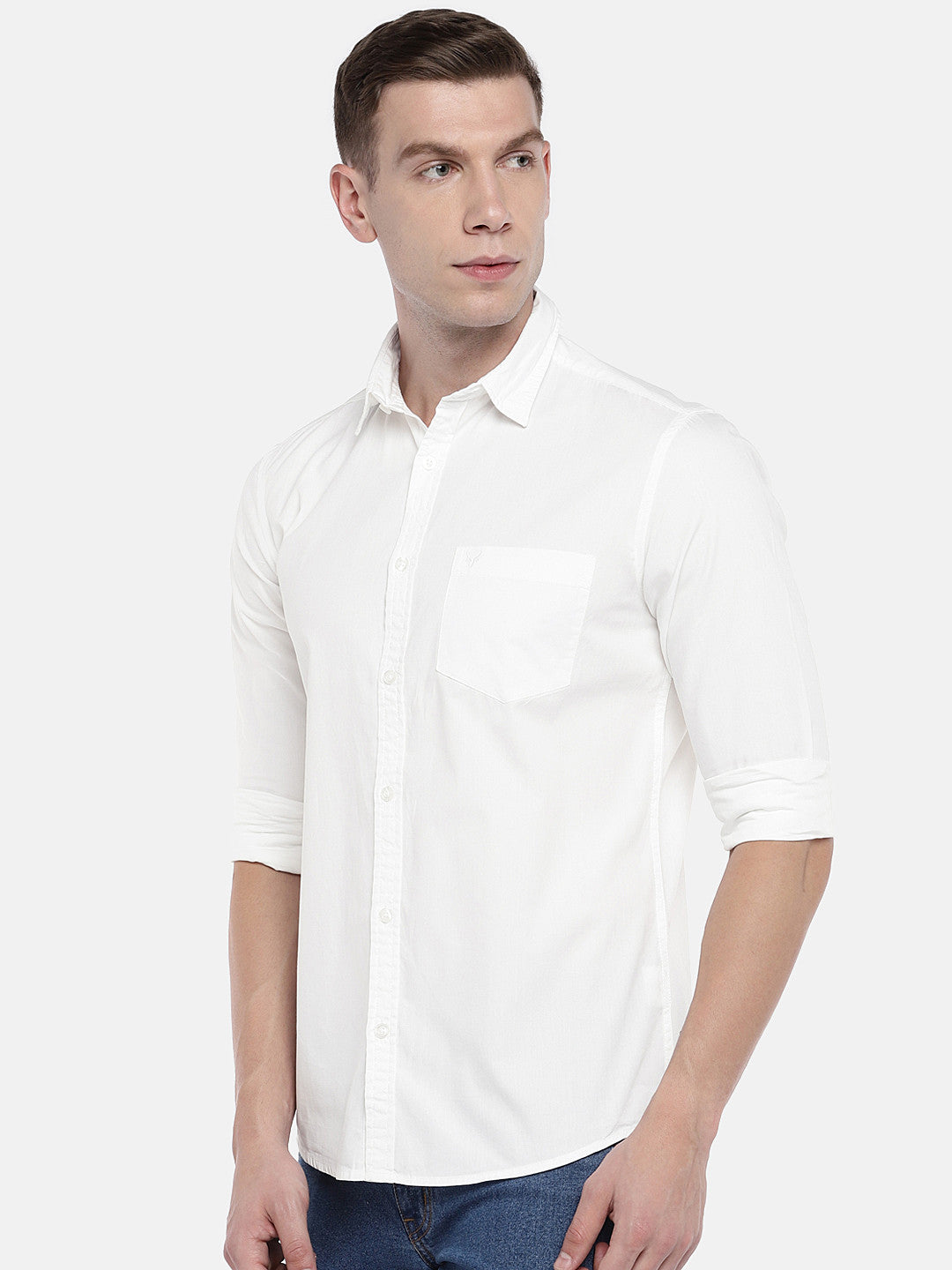 White Regular Fit Solid Casual Shirt-2