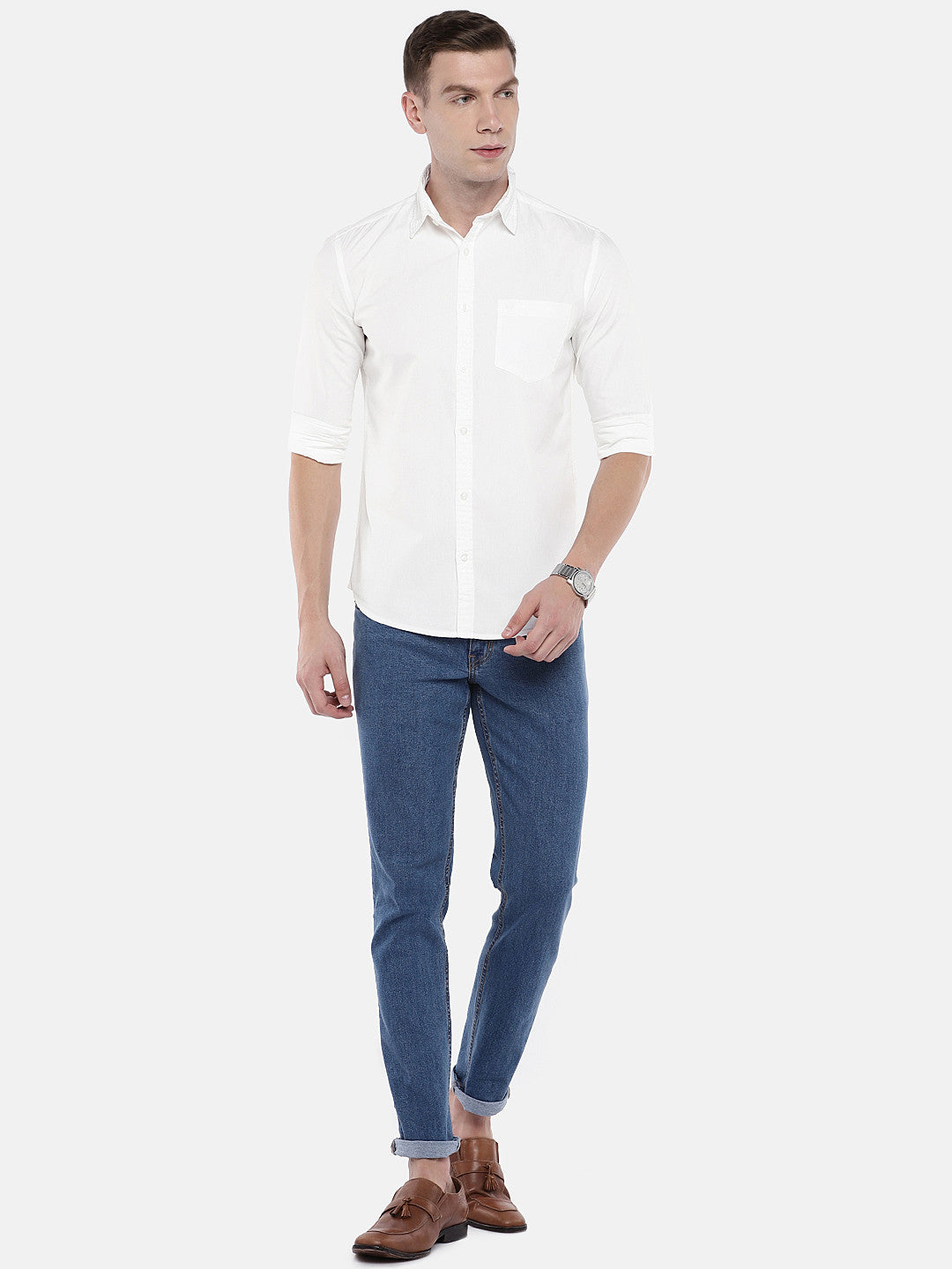 White Regular Fit Solid Casual Shirt-4