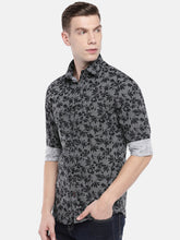 Load image into Gallery viewer, Black & Grey Regular Fit Printed Casual Shirt-2