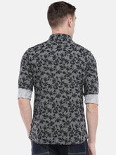 Load image into Gallery viewer, Black & Grey Regular Fit Printed Casual Shirt-3