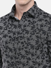 Load image into Gallery viewer, Black & Grey Regular Fit Printed Casual Shirt-5