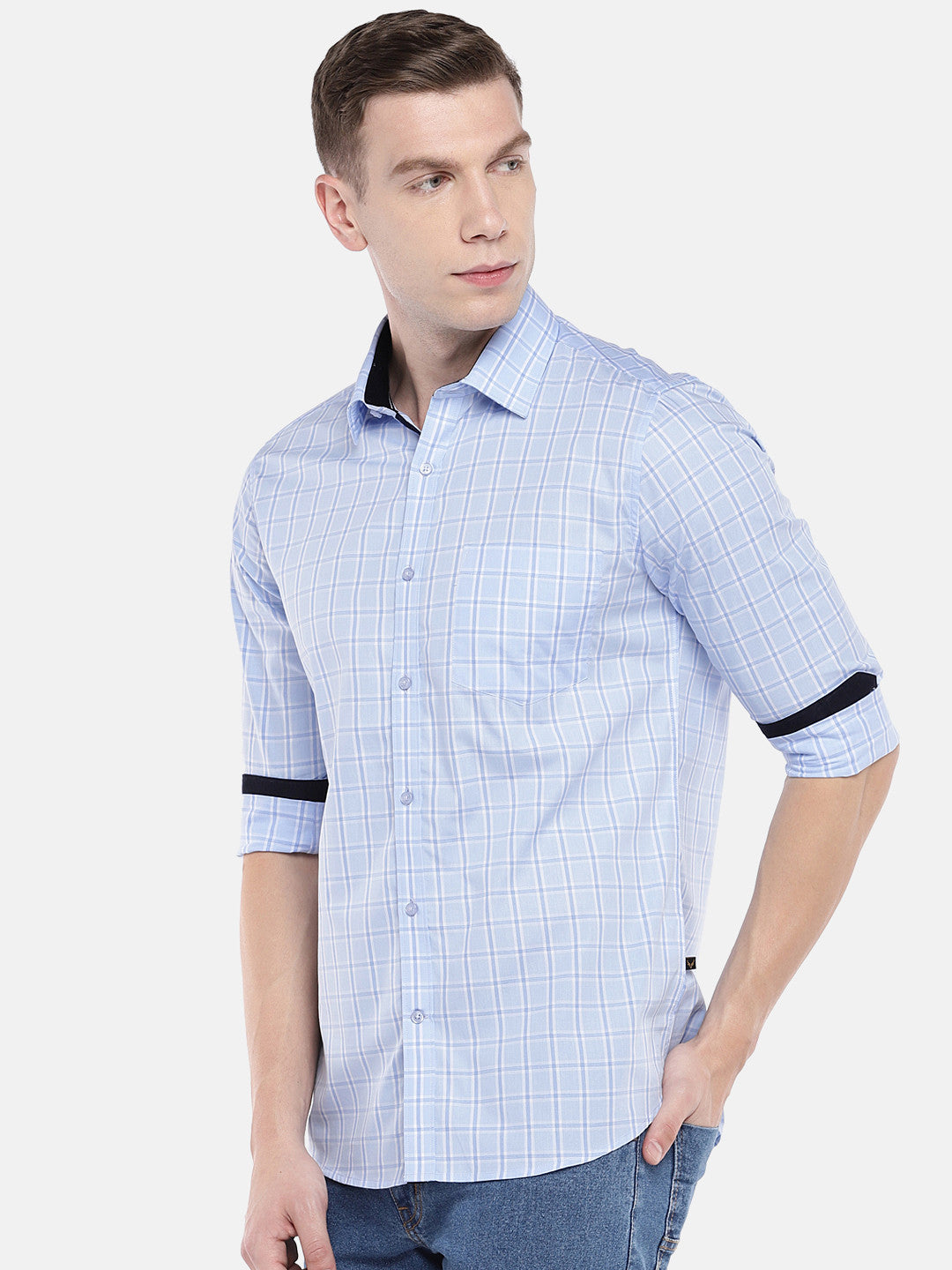 Blue Regular Fit Checked Casual Shirt-2