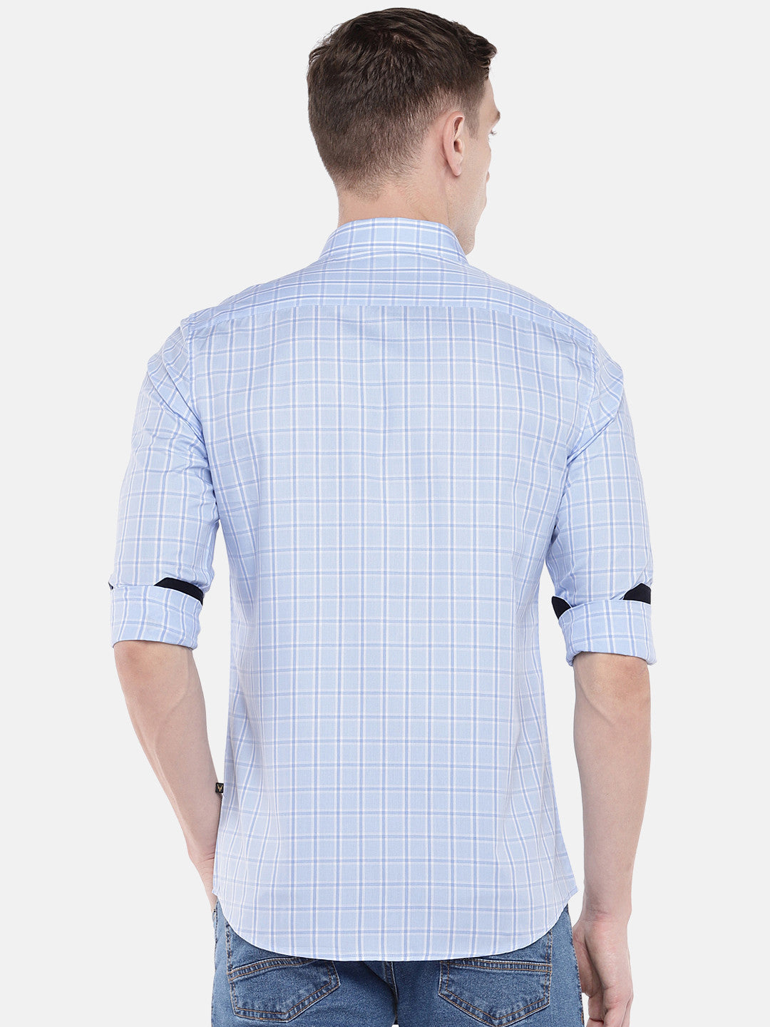 Blue Regular Fit Checked Casual Shirt-3