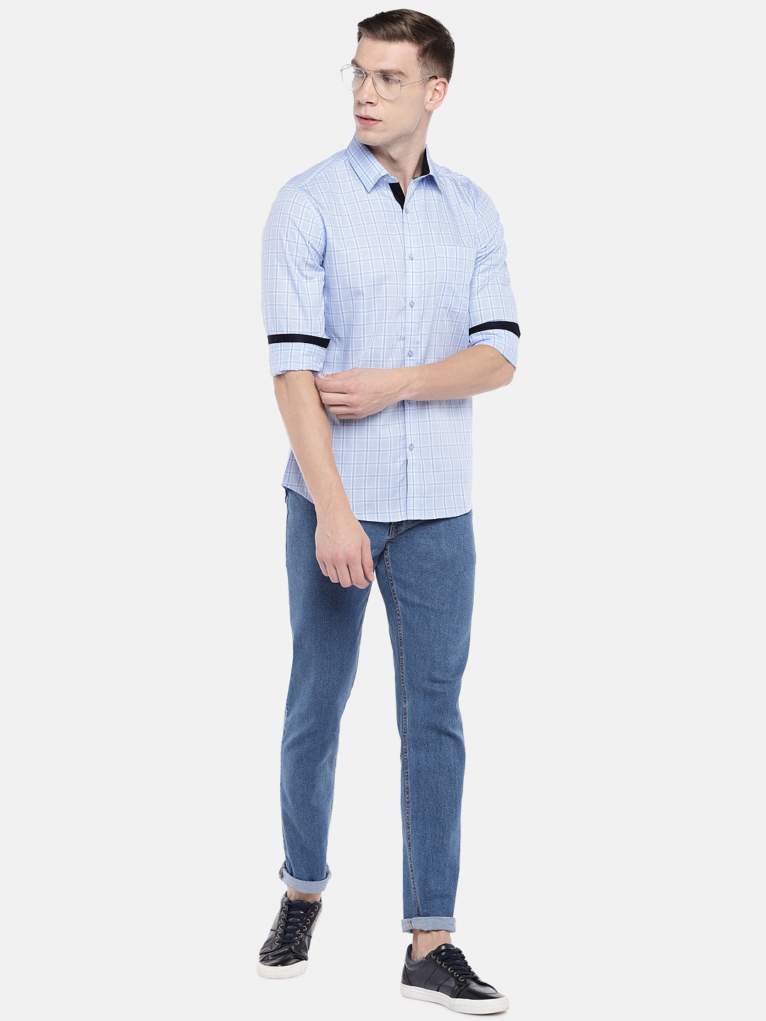 Blue Regular Fit Checked Casual Shirt-4