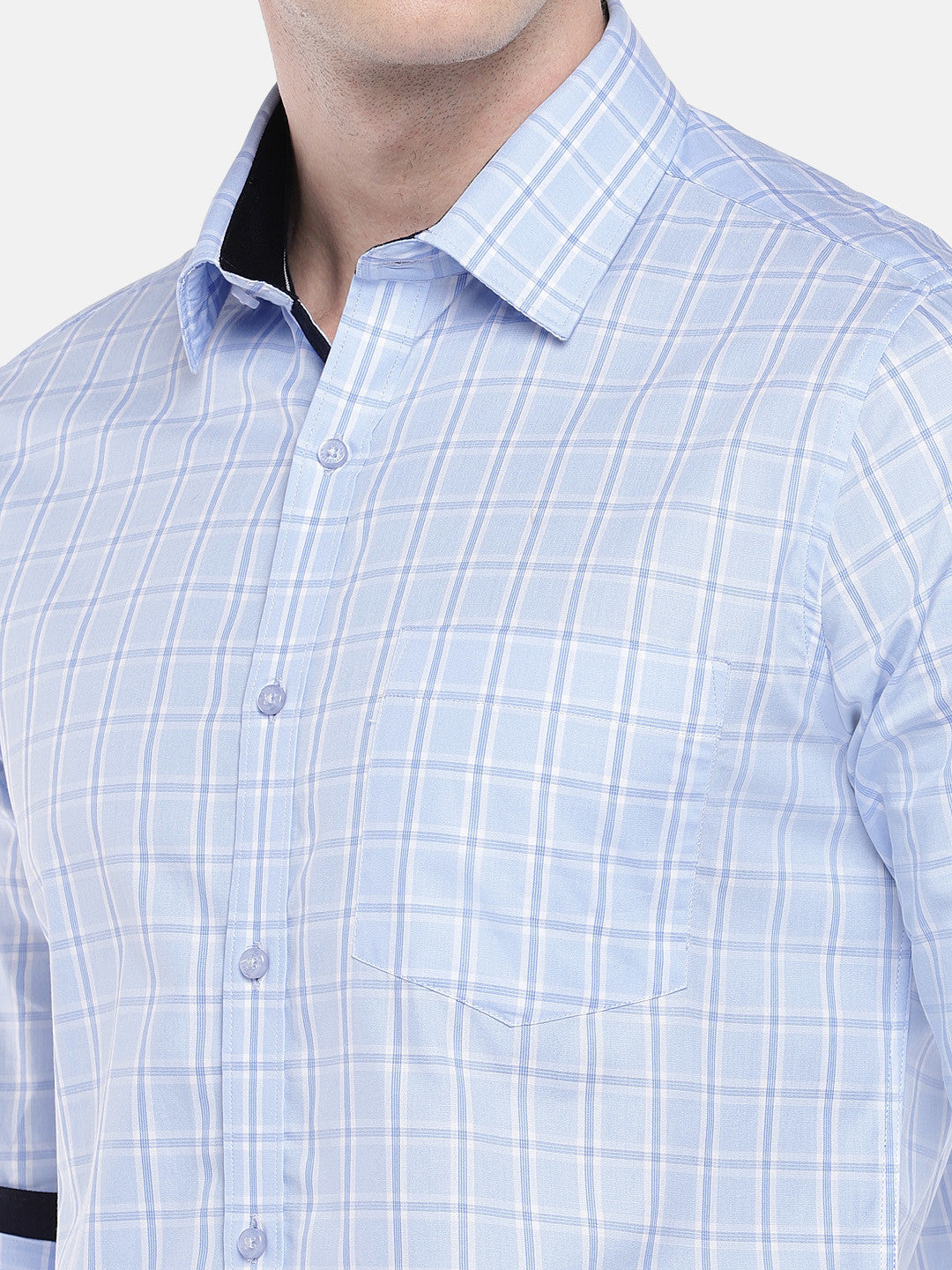 Blue Regular Fit Checked Casual Shirt-5