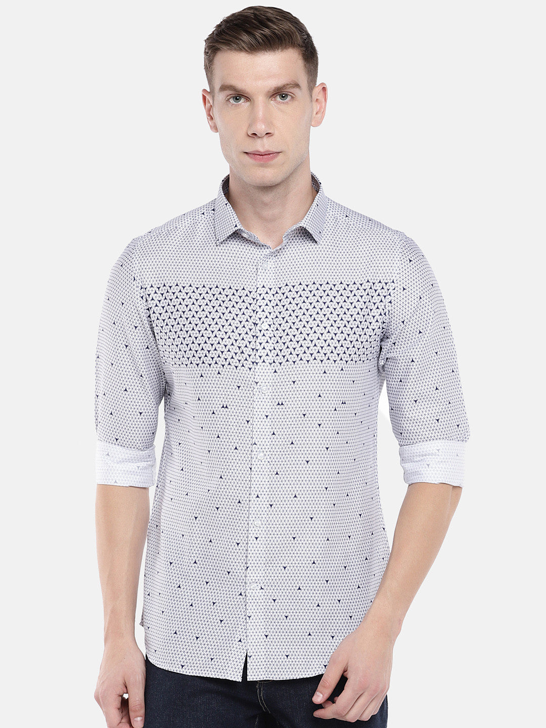 White & Blue Regular Fit Printed Casual Shirt-1