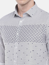Load image into Gallery viewer, White & Blue Regular Fit Printed Casual Shirt-5