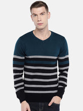 Load image into Gallery viewer, Green & Black Striped Sweater-1