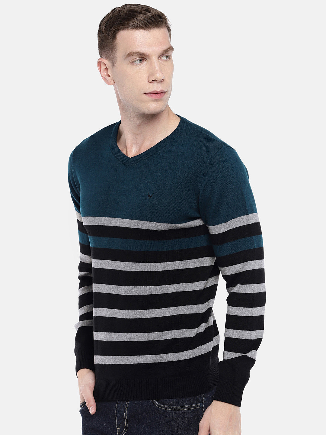 Green & Black Striped Sweater-2