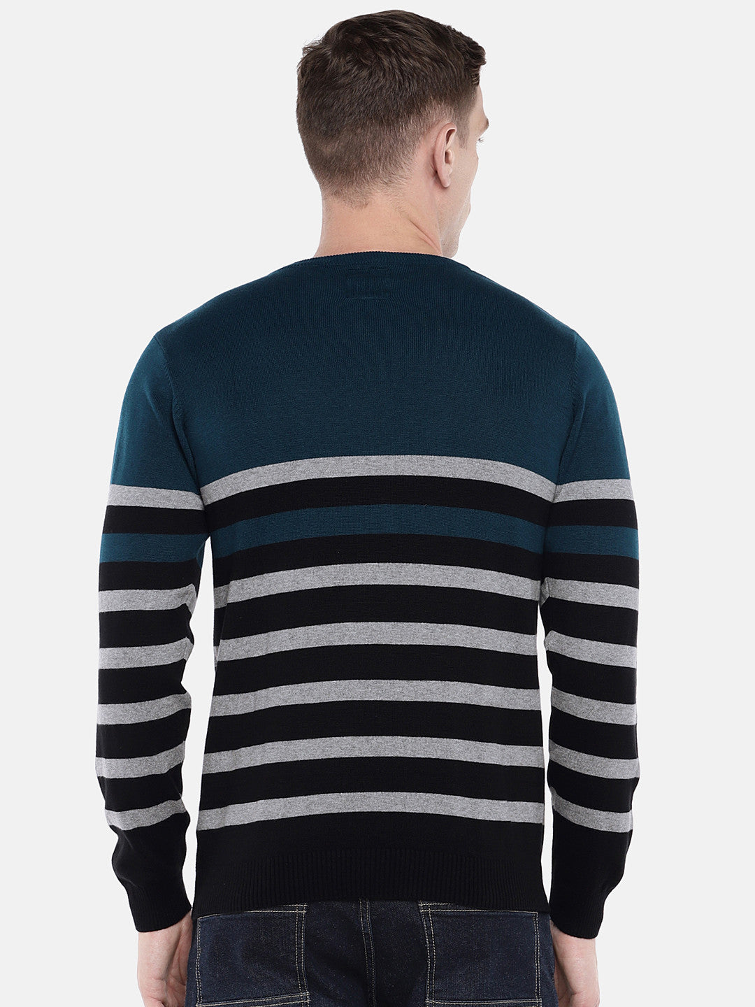Green & Black Striped Sweater-3