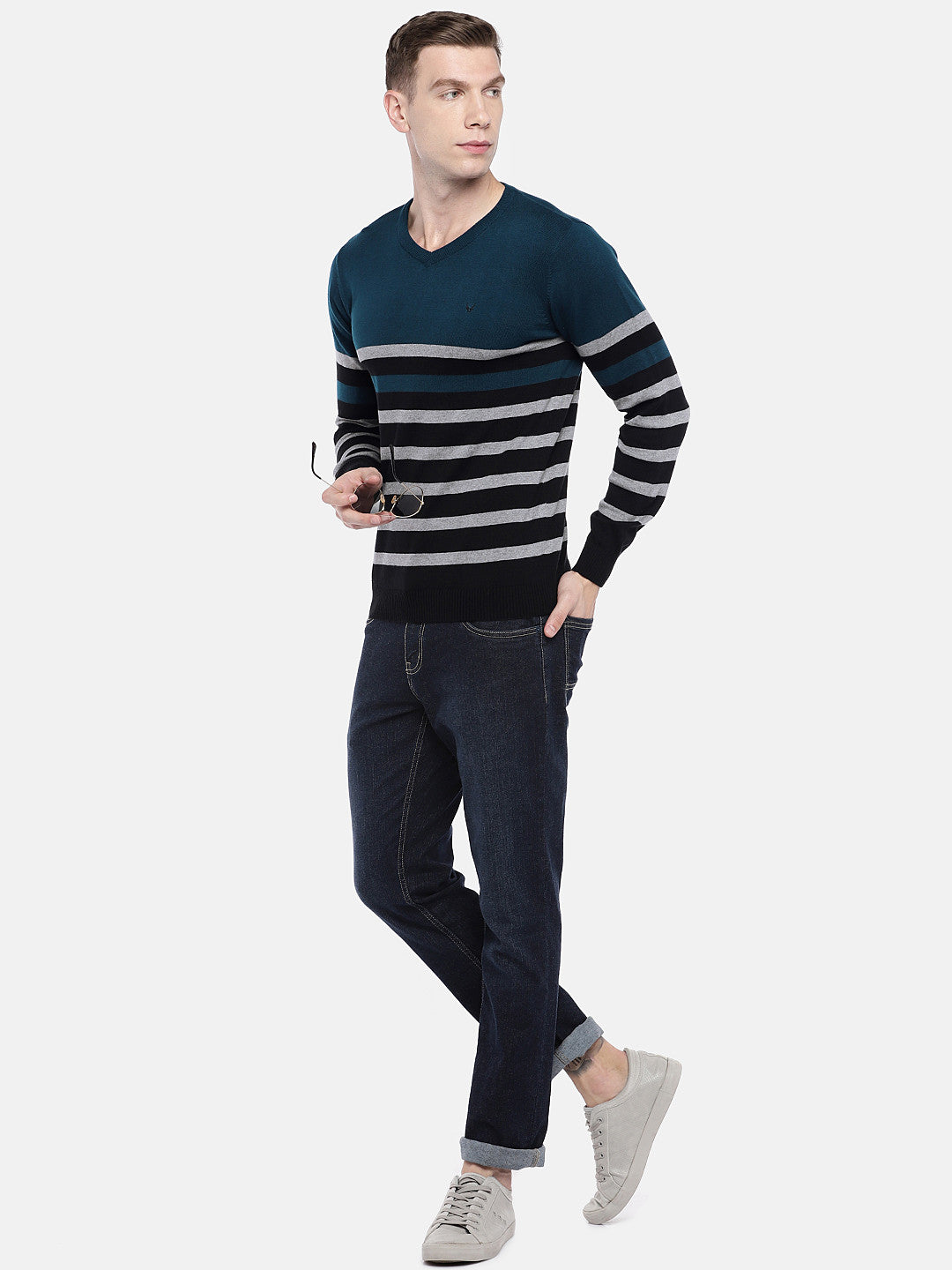 Green & Black Striped Sweater-4