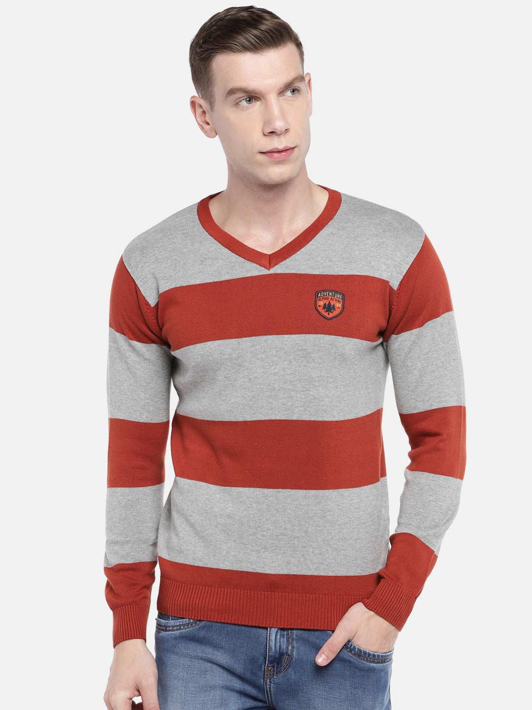 Rust Orange & Grey Striped Sweater-1