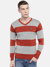 Load image into Gallery viewer, Rust Orange & Grey Striped Sweater-1