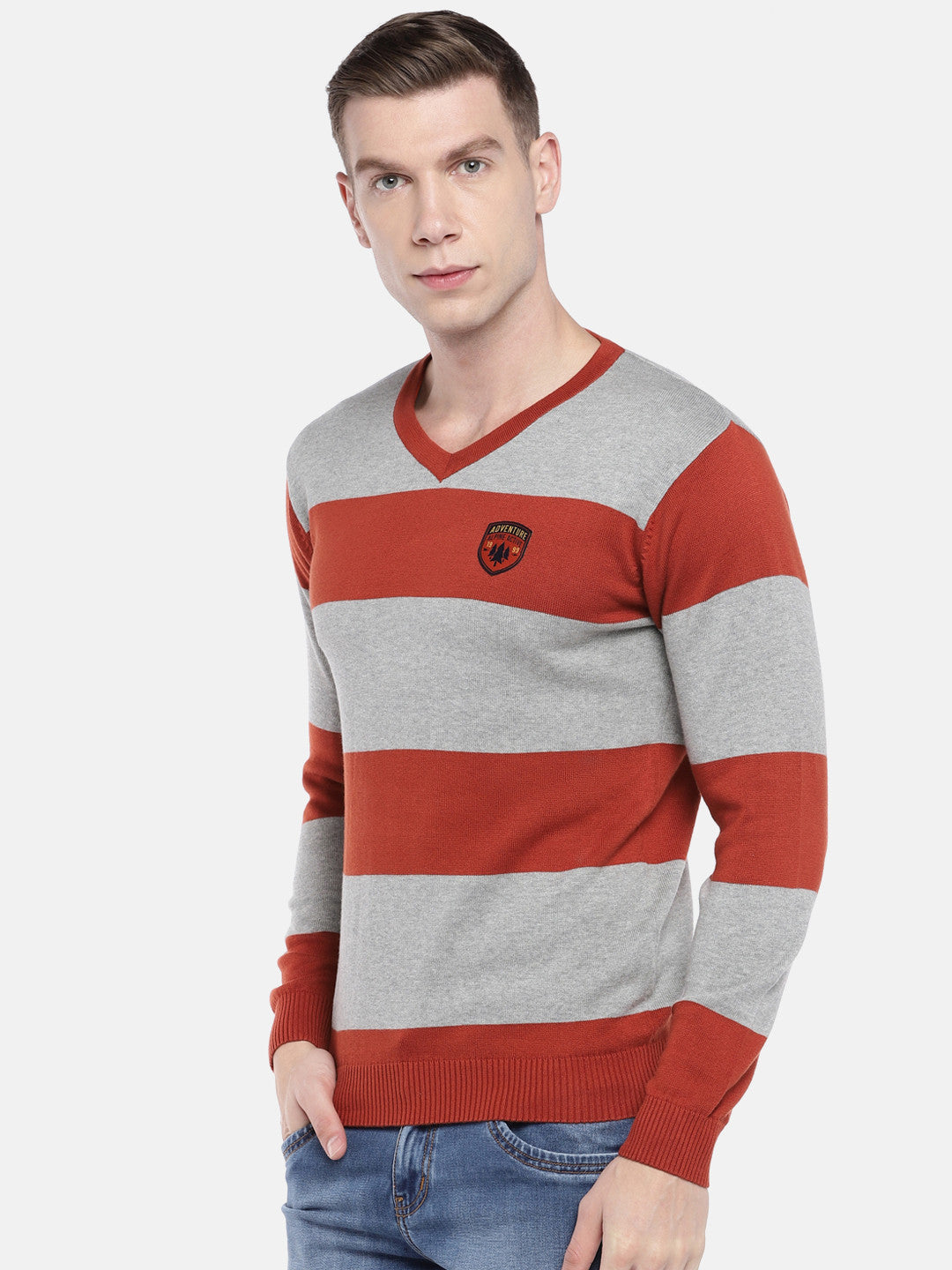 Rust Orange & Grey Striped Sweater-2