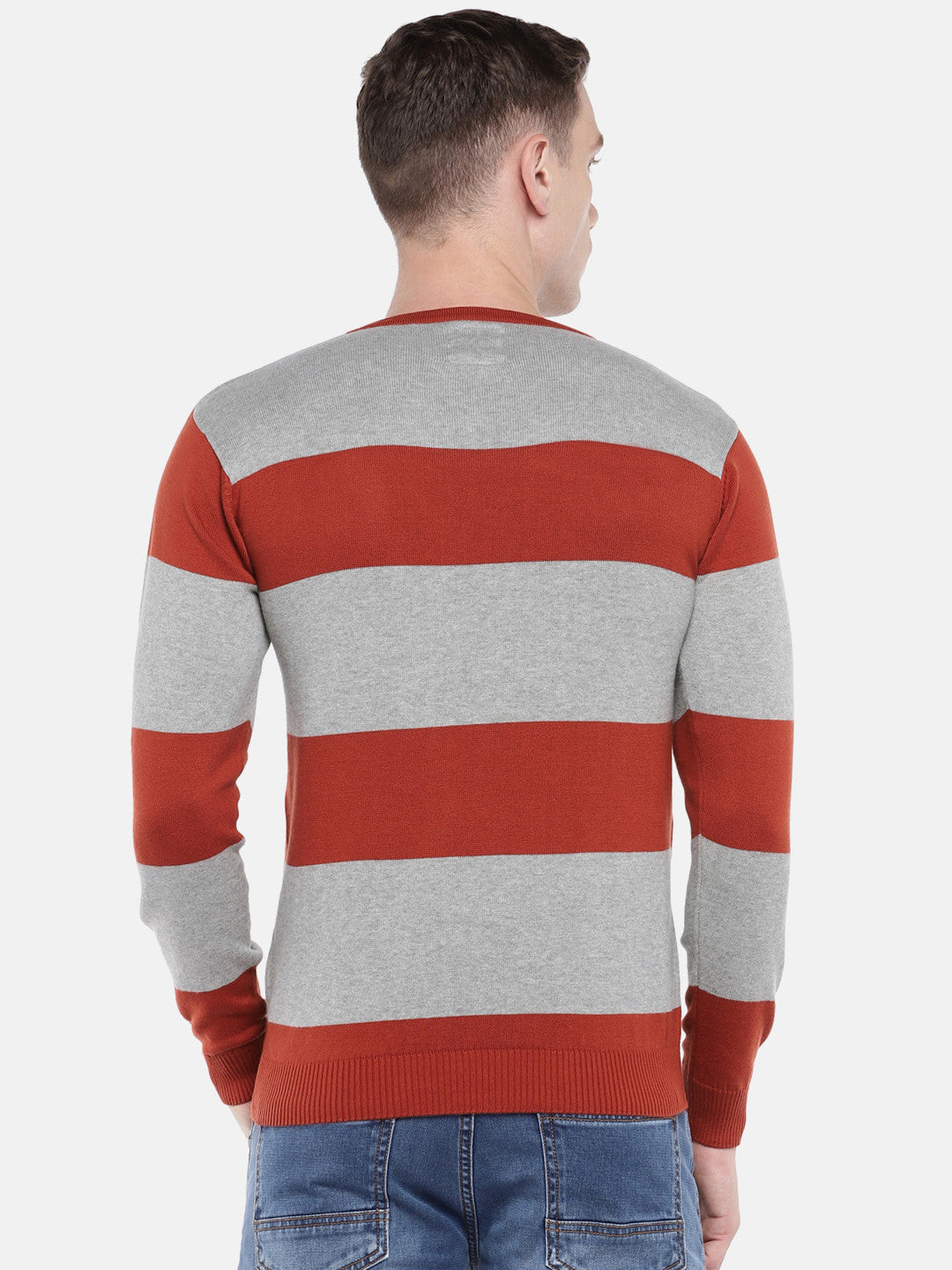 Rust Orange & Grey Striped Sweater-3