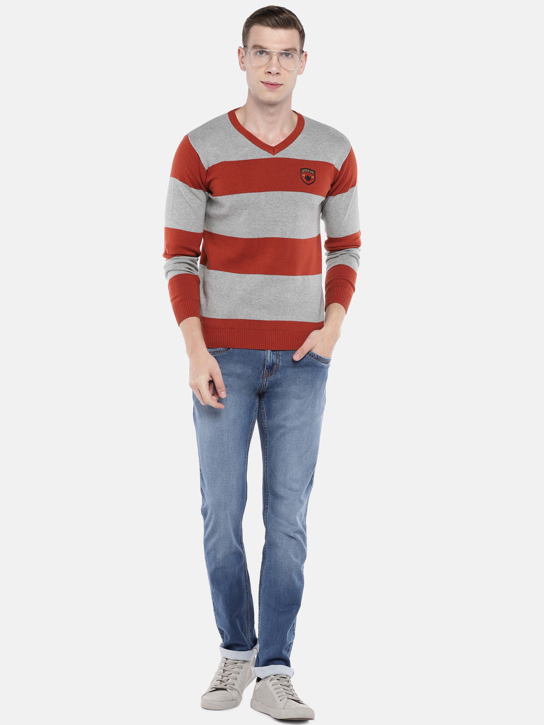 Rust Orange & Grey Striped Sweater-4