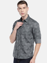 Load image into Gallery viewer, Grey Regular Fit Printed Casual Shirt-2