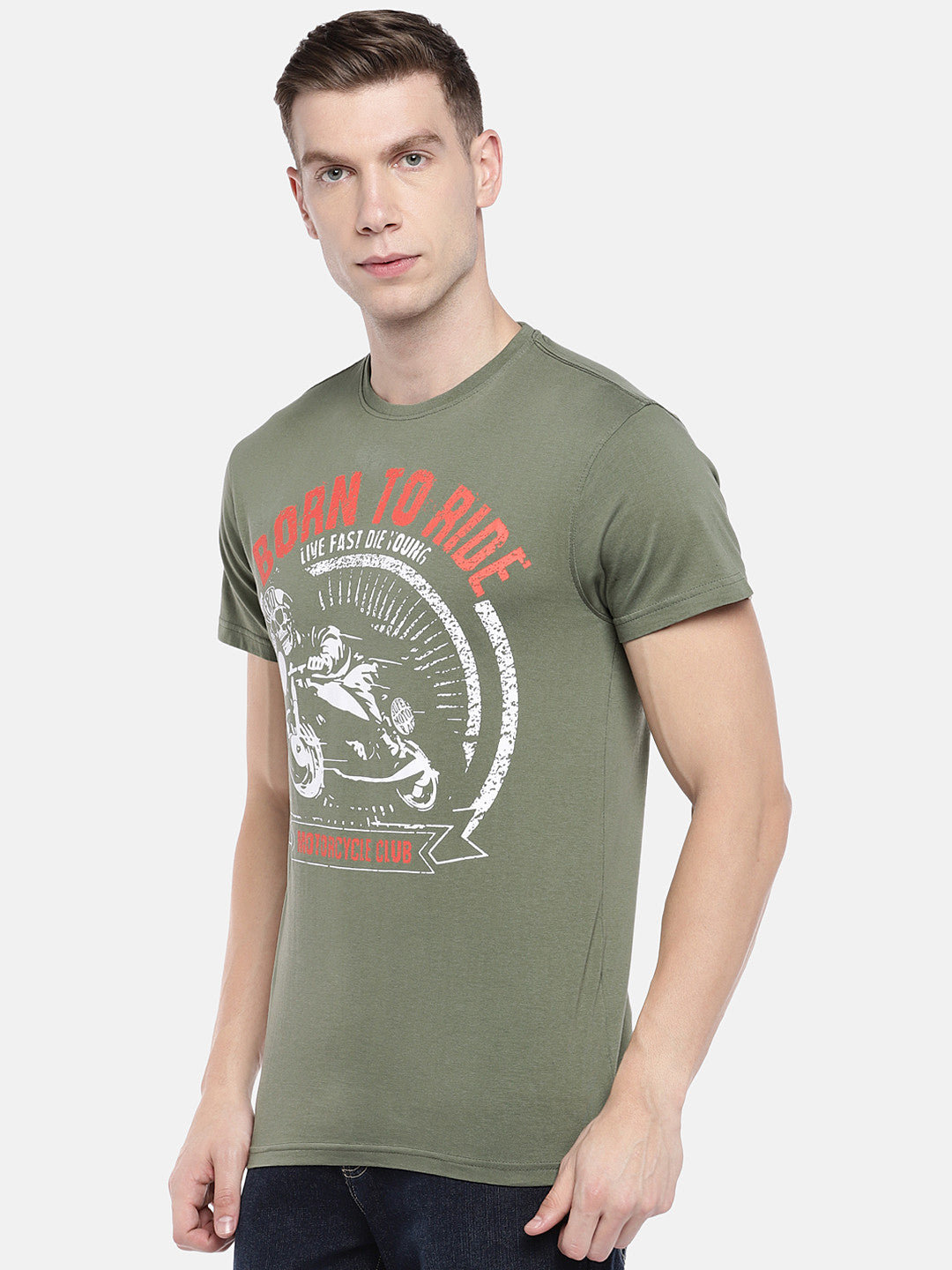 Olive Green Printed Round Neck T-shirt-2