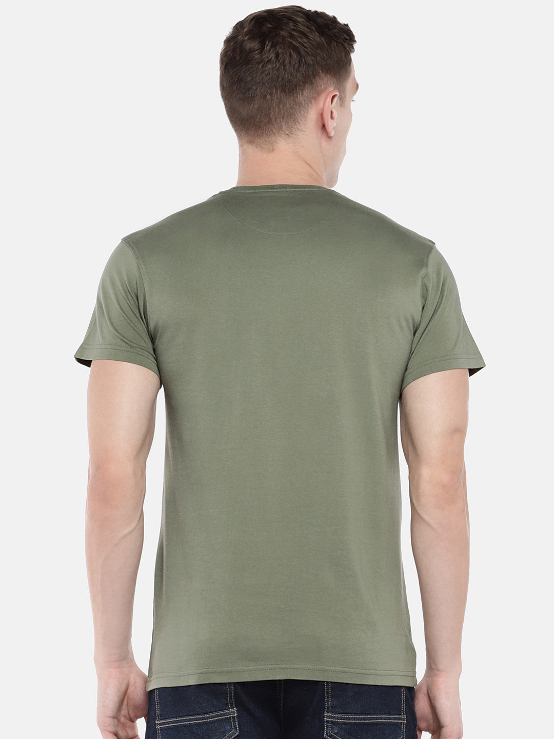 Olive Green Printed Round Neck T-shirt-3
