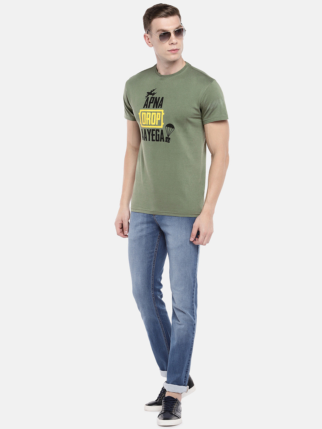 Olive Green Printed Round Neck T-shirt-4