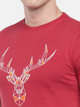 Load image into Gallery viewer, Red Printed Round Neck T-shirt-5