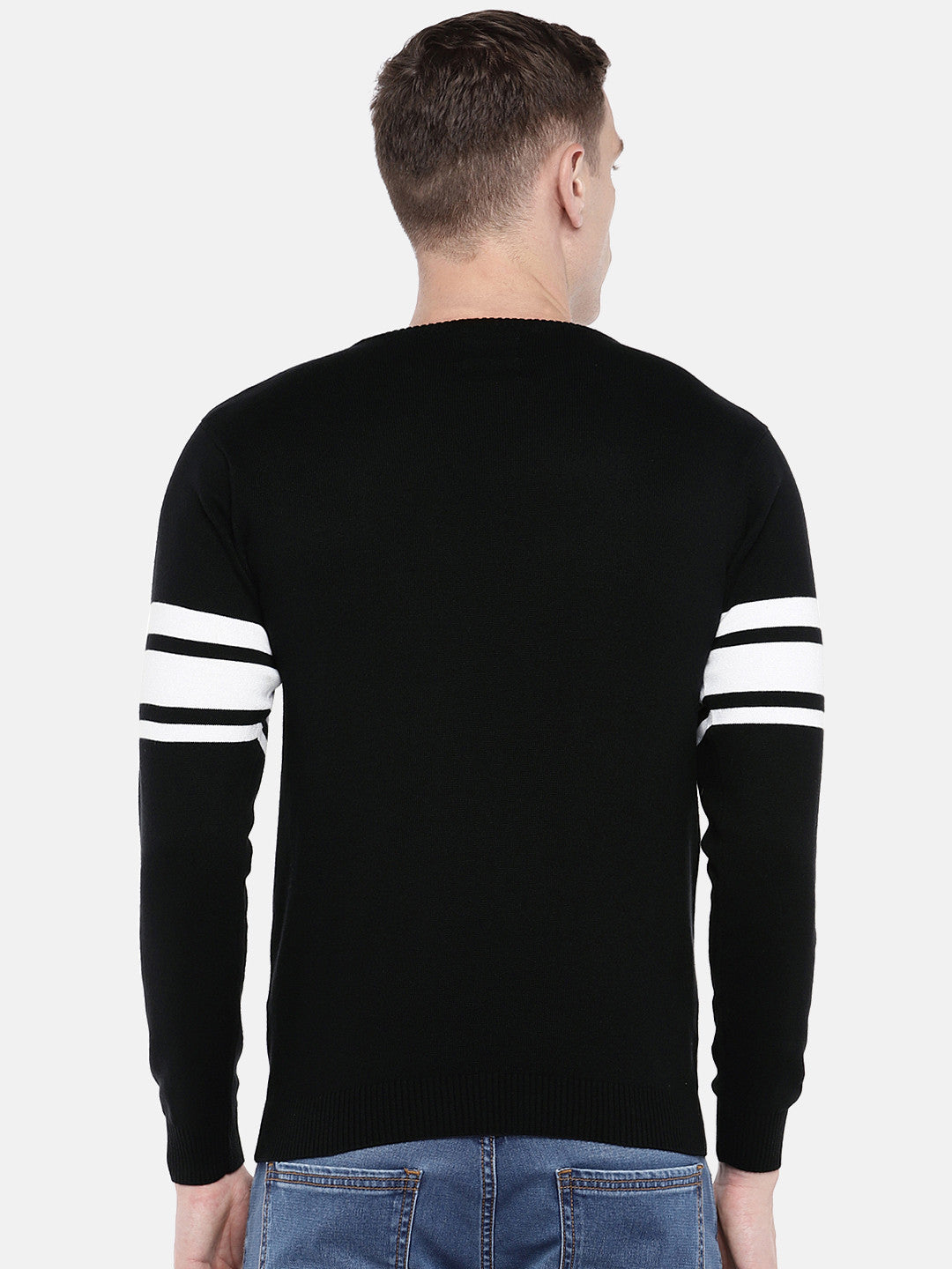 Black & White Colourblocked Round Neck T-shirt-3
