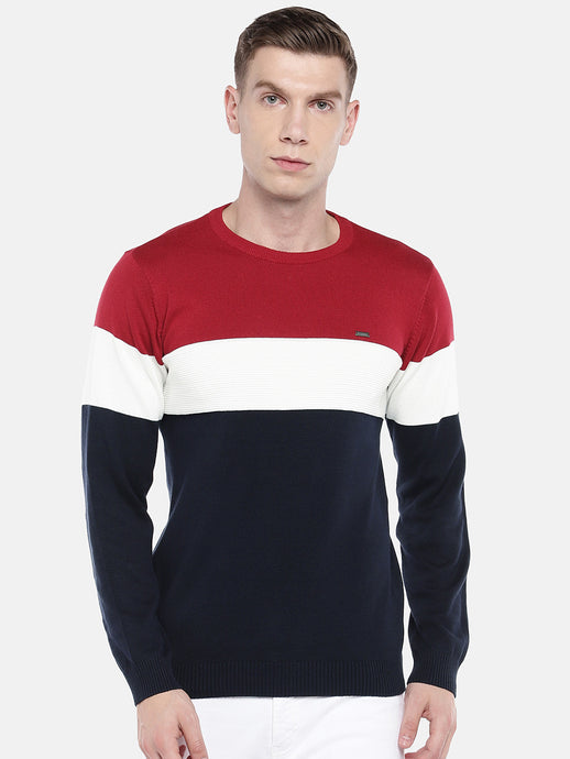 Navy Blue & Red Colourblocked Sweater-1