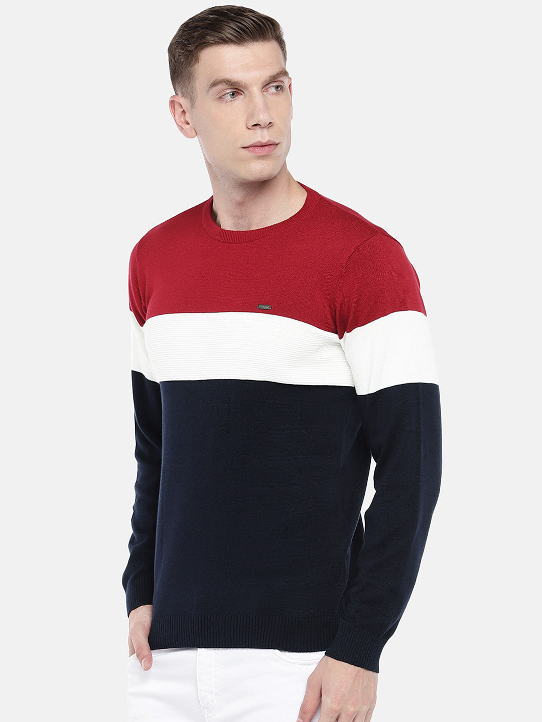 Navy Blue & Red Colourblocked Sweater-2