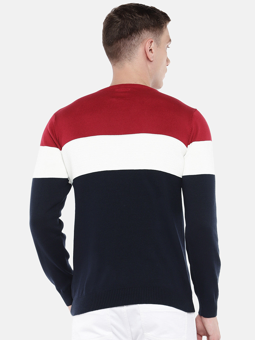 Navy Blue & Red Colourblocked Sweater-3