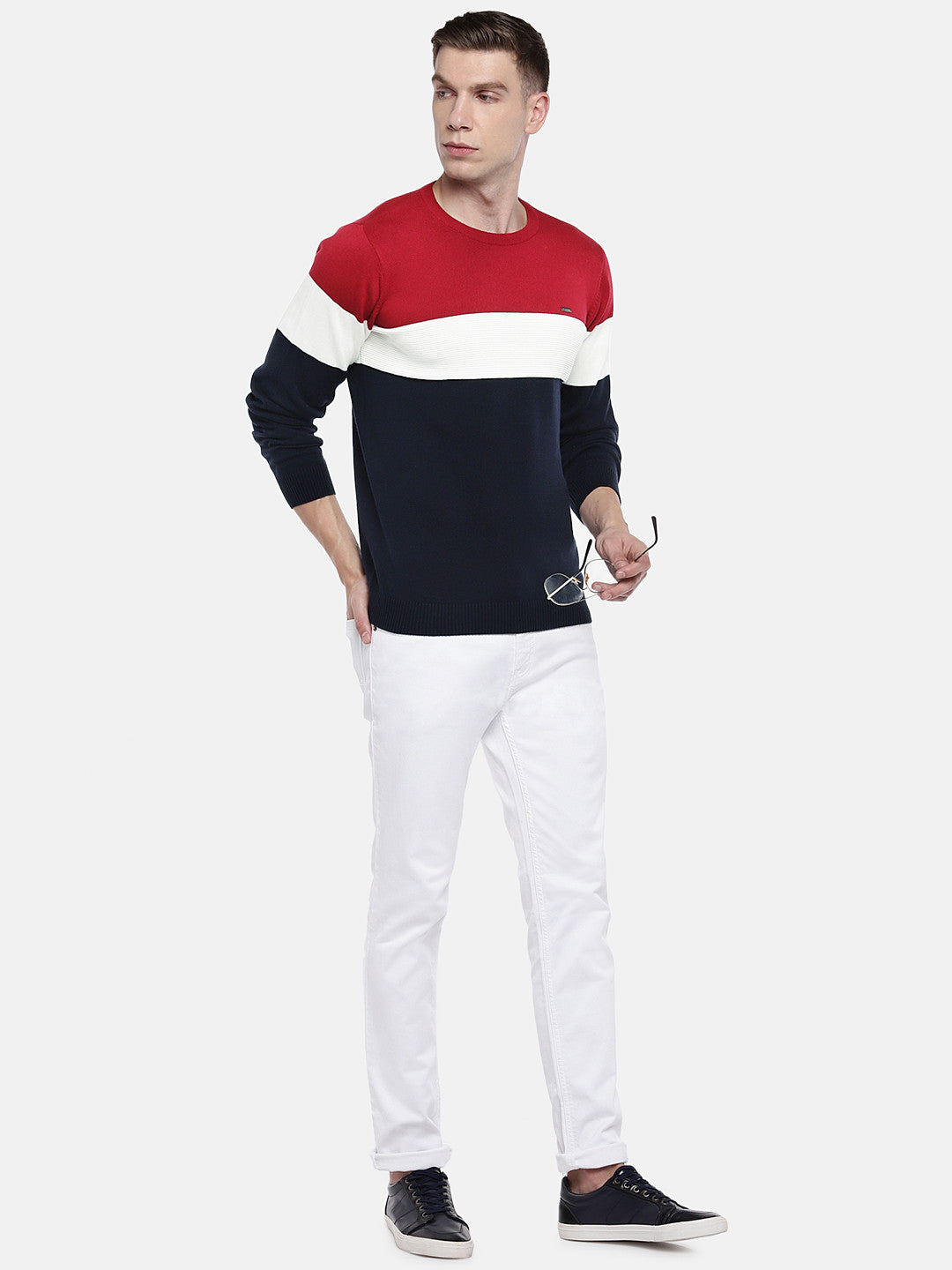 Navy Blue & Red Colourblocked Sweater-4