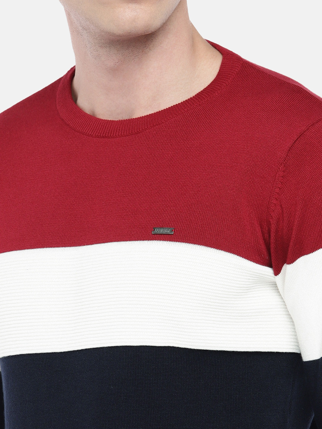 Navy Blue & Red Colourblocked Sweater-5