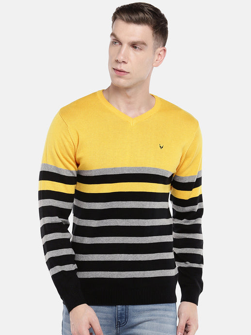 Yellow & Black Striped Pullover Sweater-1
