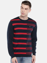 Load image into Gallery viewer, Navy Blue & Red Striped Pullover Sweater-1