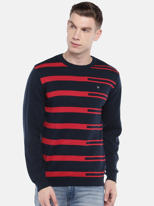 Navy Blue & Red Striped Pullover Sweater-1