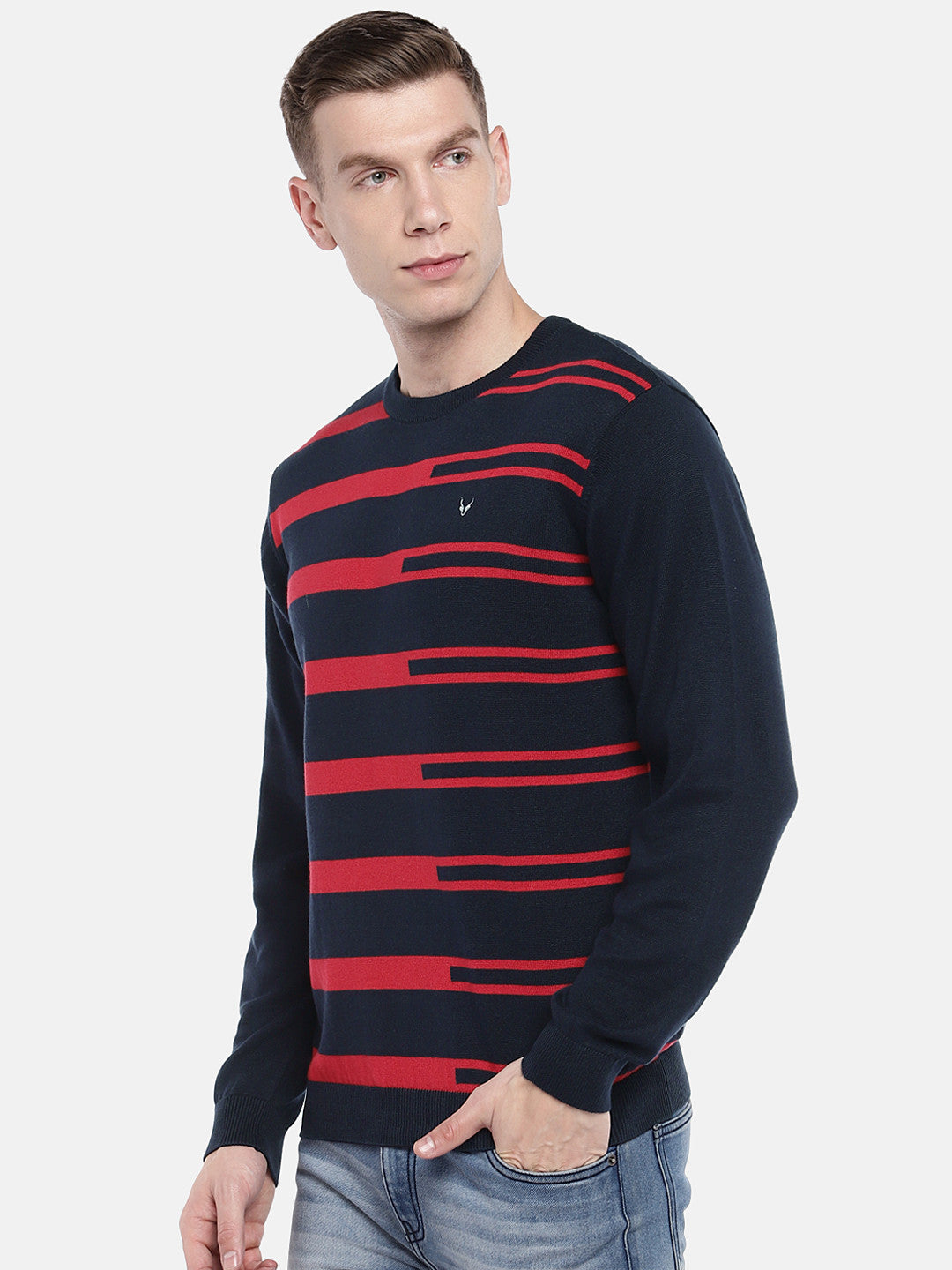 Navy Blue & Red Striped Pullover Sweater-2