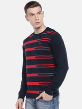 Load image into Gallery viewer, Navy Blue & Red Striped Pullover Sweater-2