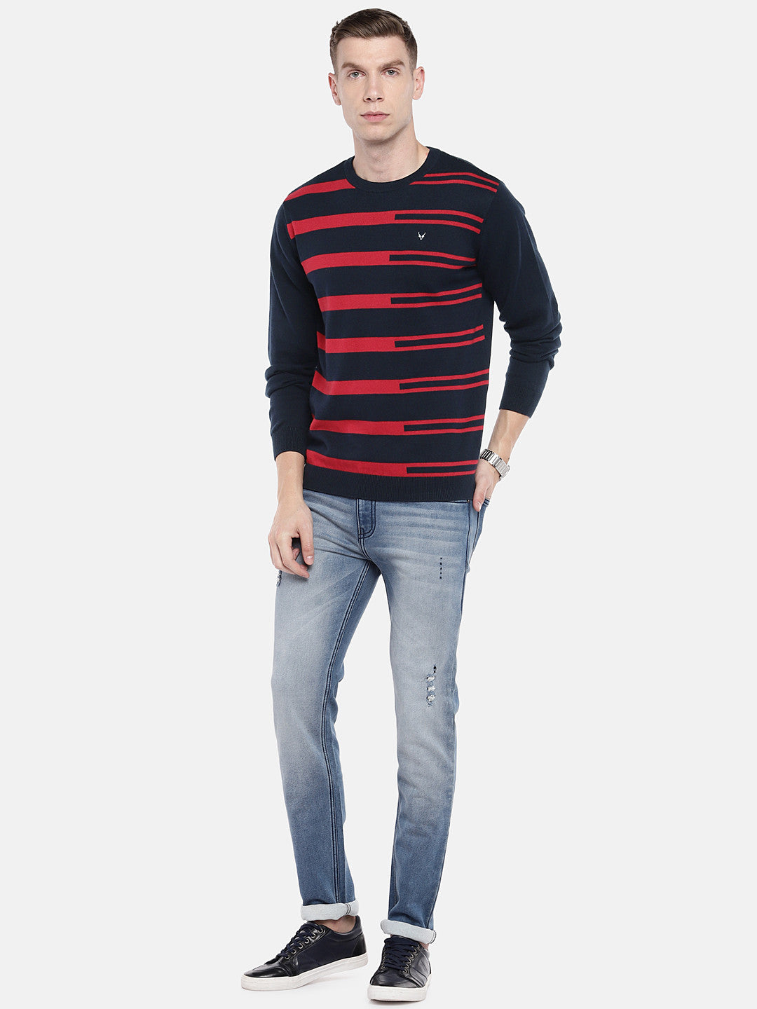 Navy Blue & Red Striped Pullover Sweater-4