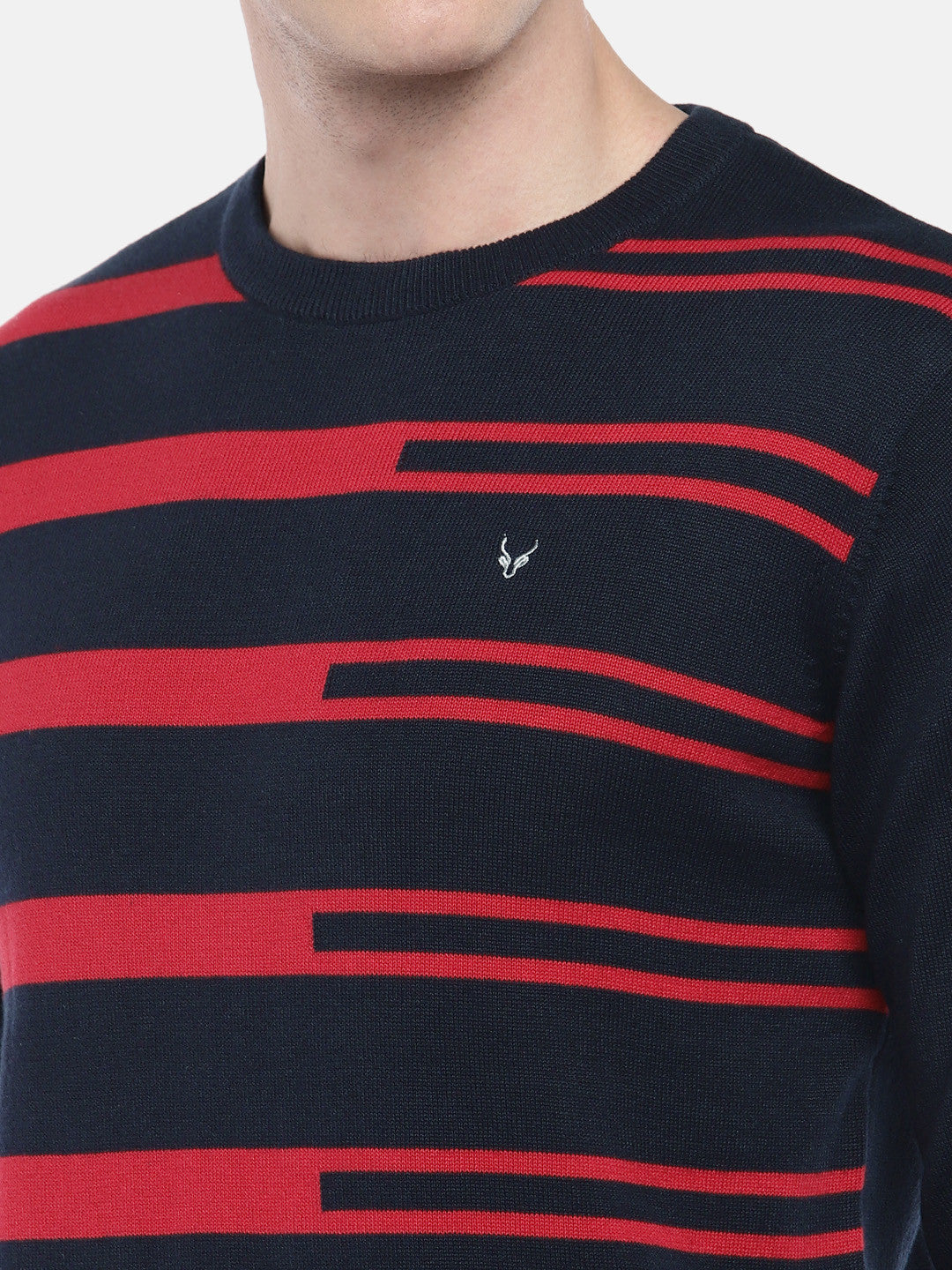 Navy Blue & Red Striped Pullover Sweater-5
