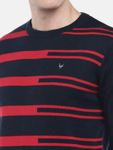 Load image into Gallery viewer, Navy Blue & Red Striped Pullover Sweater-5