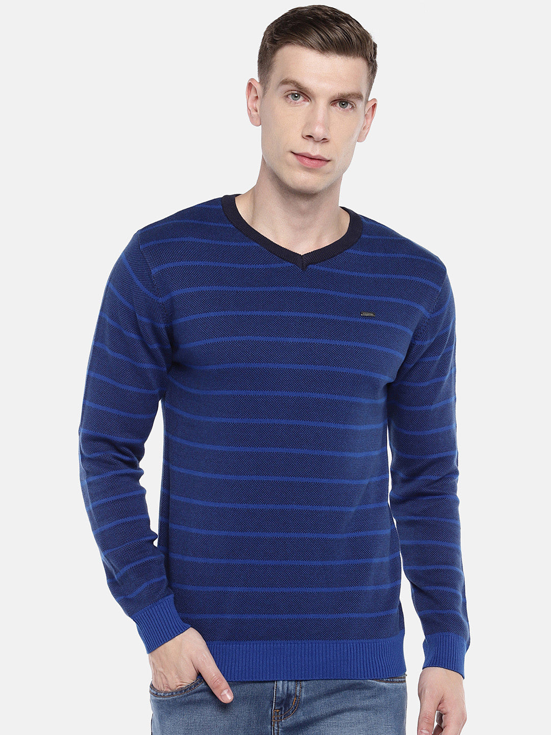 Blue Striped Pullover Sweater-1