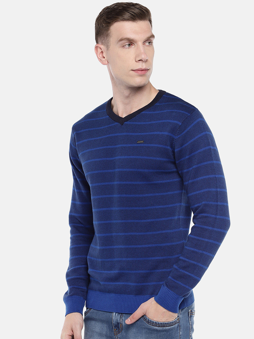 Blue Striped Pullover Sweater-2