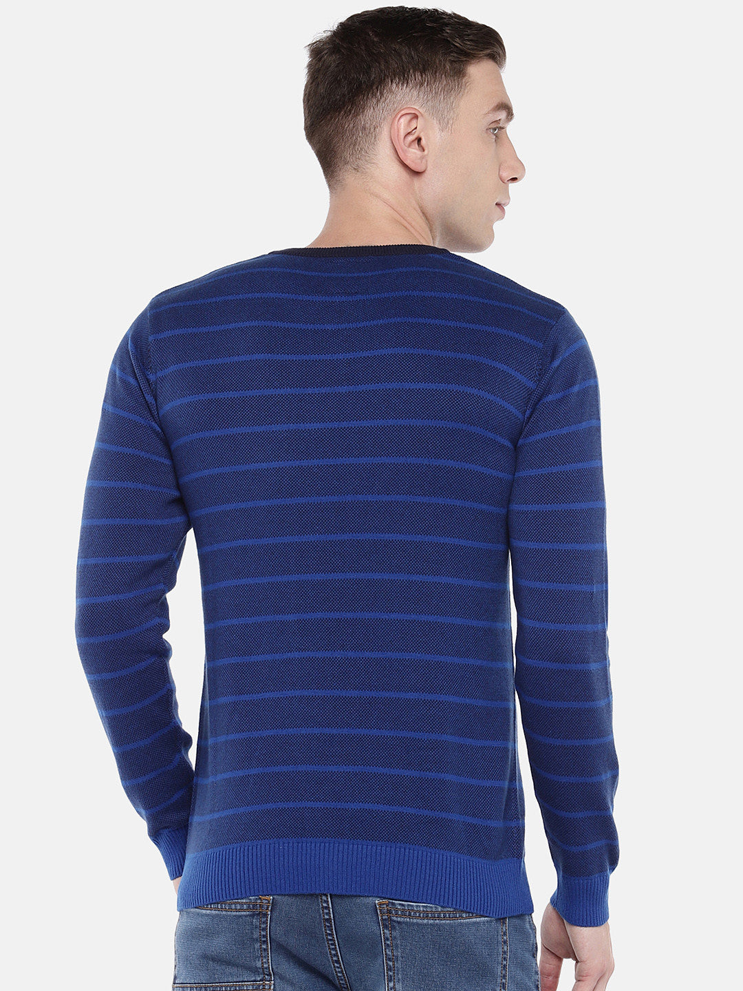 Blue Striped Pullover Sweater-3